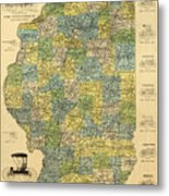Antique Map Of Indianapolis By The Parry Mfg Company - Historical Map Metal Print