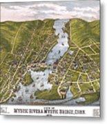 Antique Map Of Mystic Connecticut Metal Print