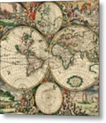 Antique Map Of The World - 1689 Metal Print