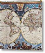 Antique Maps Of The World Joan Blaeu C 1662 Metal Print