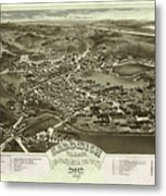 Antique Maps - Old Cartographic Maps - Antique Bird's Eye Map Of Sandwich, Massachusetts, 1884 Metal Print