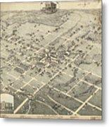 Antique Maps - Old Cartographic Maps - Antique Birds Eye View Map Of Denton, Texas, 1883 Metal Print