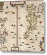 Antique Maps - Old Cartographic Maps - Antique Map Of Schetland And Orkney Islands - Scotland,1654 Metal Print