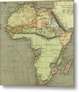 Antique Maps - Old Cartographic Maps - Antique Map Of Africa Metal Print