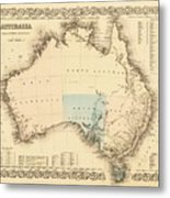 Antique Maps - Old Cartographic Maps - Antique Map Of Australia Metal Print