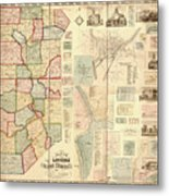 Antique Maps - Old Cartographic Maps - Antique Map Of Lawrence And Beaver Counties, 1860 Metal Print