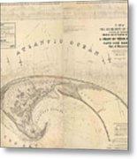 Antique Maps - Old Cartographic Maps - Antique Map Of Cape Cod, Massachusetts, 1836 Metal Print