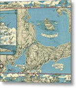 Antique Maps - Old Cartographic Maps - Antique Map Of Cape Cod, Massachusetts, 1945 Metal Print
