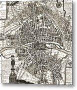 Antique Maps - Old Cartographic Maps - Antique Map Of Paris, France, 1643 Metal Print
