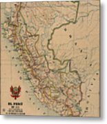 Antique Maps - Old Cartographic Maps - Antique Map Of Peru, South America, 1913 Metal Print