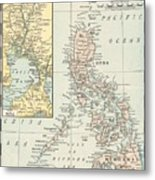 Antique Maps - Old Cartographic Maps - Antique Map Of Philippine Islands And Manila Bay, 1898 Metal Print