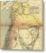 Antique Maps - Old Cartographic Maps - Antique Map Of Syria, 1884 Metal Print