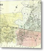 Antique Maps - Old Cartographic Maps - Antique Map Of The City Of Chester, England, 1870 Metal Print