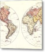 Antique Maps - Old Cartographic Maps - Antique Map Of The Eastern And Western Hemisphere, 1850 Metal Print
