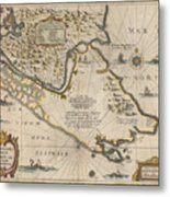 Antique Maps - Old Cartographic Maps - Antique Map Of The Strait Of Magellan, South America, 1635 Metal Print