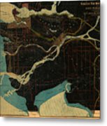 Antique Maps - Old Cartographic Maps - Antique Map Of Vancouver, New Westminster, Steveston Metal Print