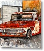 Antique Old Truck Painting Metal Print