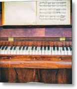 Antique Piano And Music Sheet Metal Print