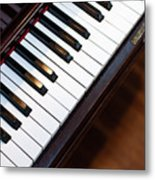 Antique Piano Keys From Above With Hardwood Floor Metal Print
