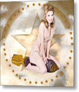 Antique Pin-up Girl On Missile. Bombshell Blond Metal Print
