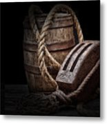 Antique Pulley And Barrel Metal Print by Tom Mc Nemar