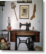 antique Singer sewing machine with treadle Metal Print