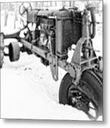 Antique Steel Wheel Tractor Black And White Metal Print