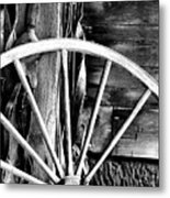 Antique Wagon Wheel Metal Print