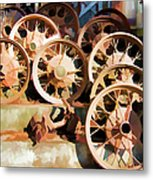 Antique Wagon Wheels And Baskets Metal Print