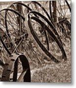 Antique Wagon Wheels II Metal Print by Tom Mc Nemar