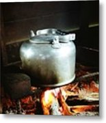 Antique Water Kettle On A Fire In Malaysia Metal Print