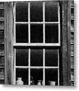 Antique Window With Pottery Metal Print