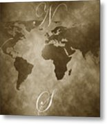 Antique World Map Metal Print