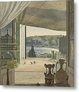 Antiquities By A Balcony Overlooking The Gulf Of Naples Metal Print