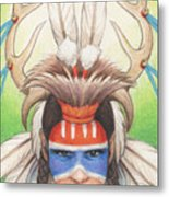 Antlered Warrior Metal Print by Amy S Turner