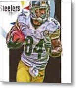 Antonio Brown Pittsburgh Steelers Oil Art 4  Metal Print