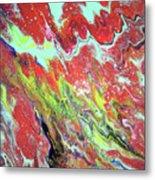 Ap-red And Aqua Metal Print