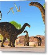 Apatosaurus Forest Metal Print