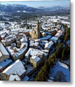 Apiro Italy In The Snow - Aerial Image. Metal Print