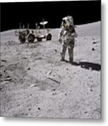 Apollo 16 Astronaut Collects Samples Metal Print