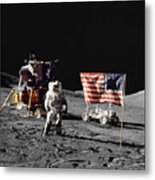 Apollo 17 Astronaut Stands Metal Print