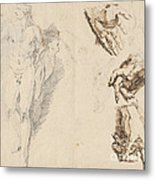 Apollo And Studies Of The Artist's Own Hand [recto] Metal Print