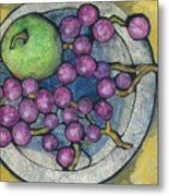 Apple And Grapes Metal Print