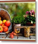 Apple Basket And Other Objects Still Life L B With Alt. Decorative Ornate Printed Frame. Metal Print
