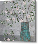Apple Blossoms In Turquoise Vase Metal Print by Janyce Boynton