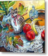 Apple Cat Metal Print
