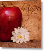 Apple With Daisy Metal Print