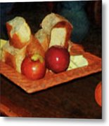 Apples And Bread Metal Print