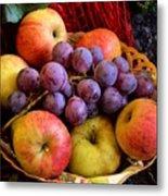 Apples And Grapes Metal Print