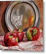 Apples And Pewter Metal Print